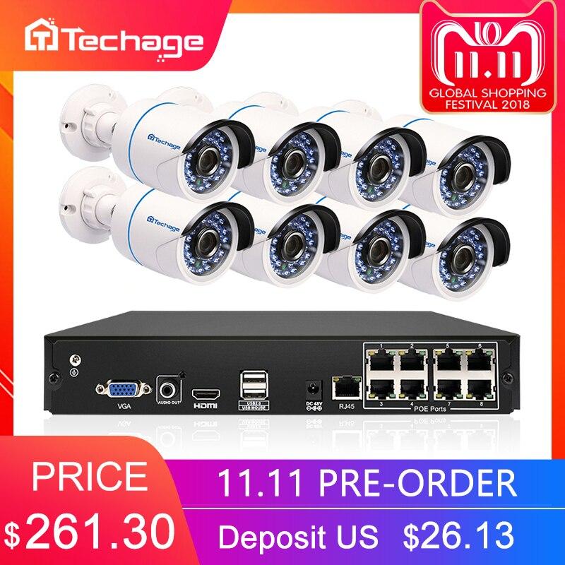Techage 8CH 1080 p HDMI POE NVR Kit CCTV Système de Sécurité 8 pcs En Plein Air 2MP Audio Son IP Caméra P2P vidéo Surveillance Système Ensemble