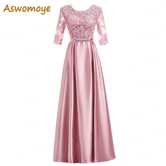Aswomoye Half Sleeve Evening Dress Appliques A-Line Prom Dresses Party Dress of the day Floor Length robe de soiree