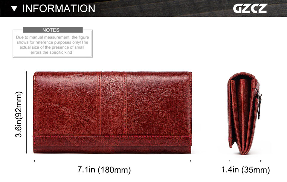 HTB171E1KSzqK1RjSZFLq6An2XXa5 - GZCZ RFID Leather Women Clutch Wallet Fashion Long Style Female Coin Purse Portomonee Clamp For Phone Bag Ladies Handy Purse