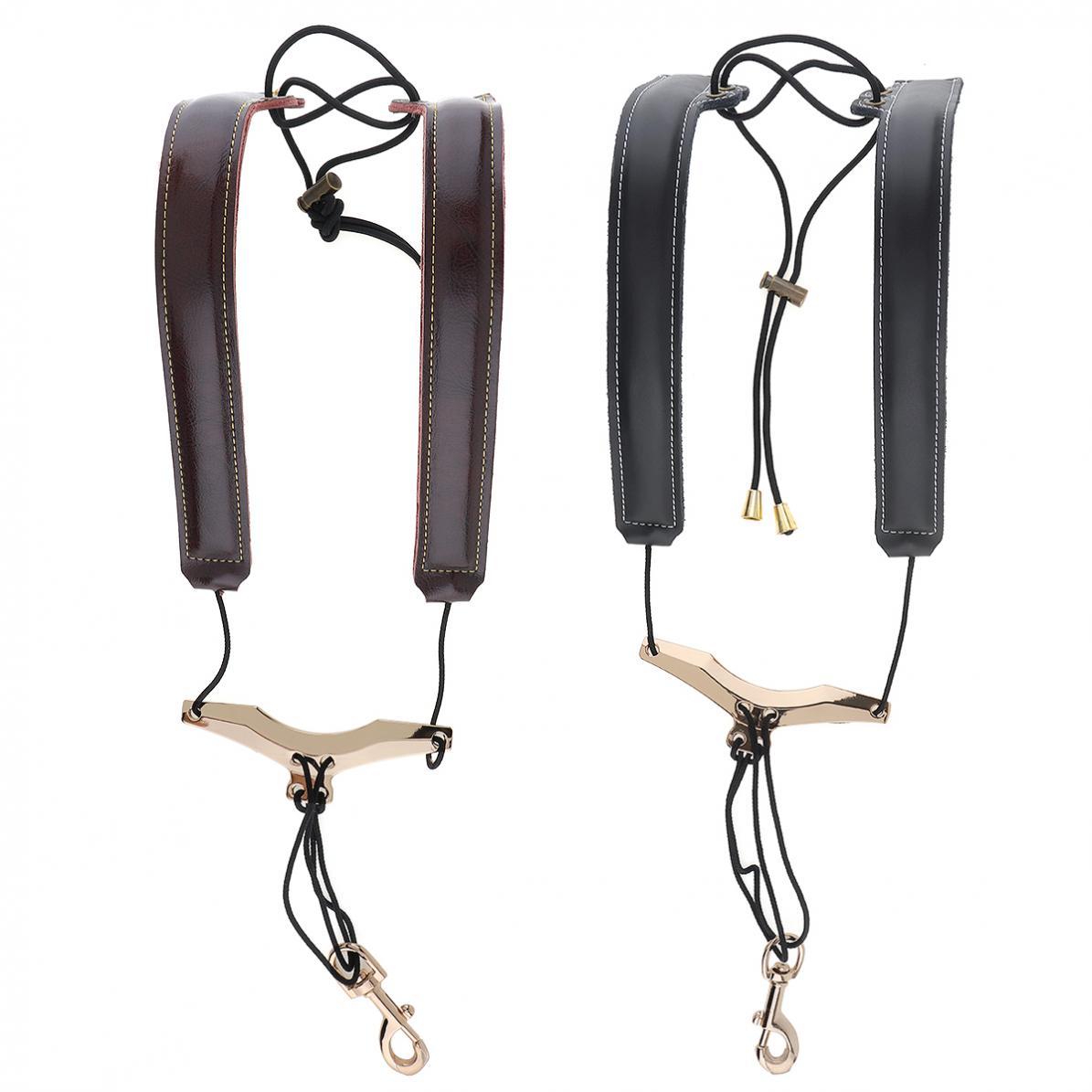 Genuine Leather Saxophone Double Shoulder Neck Strap Cowhide Material Adjustable Sax Stage Play  Neck Belt  2 Colors Optional