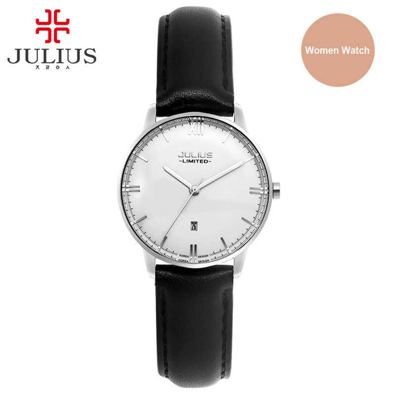 Julius Fashion Japan Quartz Movt Stainless Steel Screw Back Case Leather Strap Auto Date Simple Classic Watch Women 2017 JAL-030 недорго, оригинальная цена