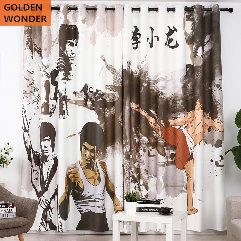Creative Comic Style Curtain Arts Institutions Taekwondo Thick Curtains For Living Room Customized Cloth