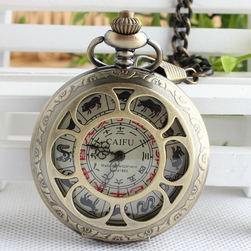Retro Bronze 12 zodiac hollow Copper Compass mechanical pocket watch Fashion Men Women TJX002 цена и фото