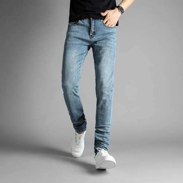 58364106397 European American High Street Fashion Mens Jeans Blue Color Elastic Denim  Ankle Zipper Jeans Pants DSEL
