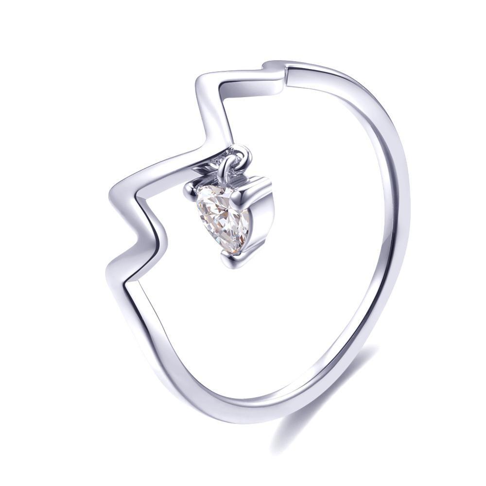 Модное Сверкающее циркониевое серебряное кольцо для женщин, цветочное сердце, корона, кольца на палец, фирменное кольцо, ювелирное изделие, Прямая поставка - Цвет основного камня: 37