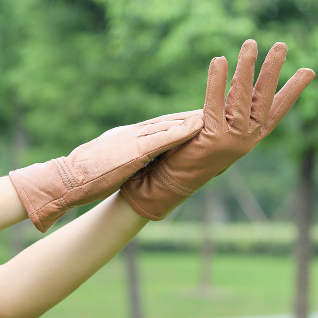 2013  fashion style Women's flat leather sheepskin gloves/winter fashion thickening thermal gloves GL1012