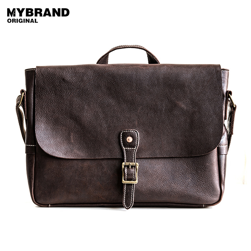 MYBRANDORIGINAL genuine leather messenger bag for man vintage men crossbody bags high quality men s briefcase