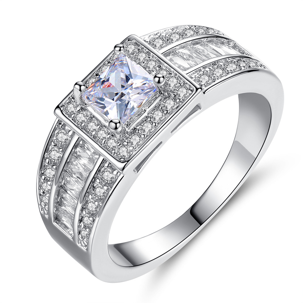 Wide Big Ring Mens Luxury Domineering Arm with Local Tyrants Mens Ring Personality Business Micro Set Full Zircon