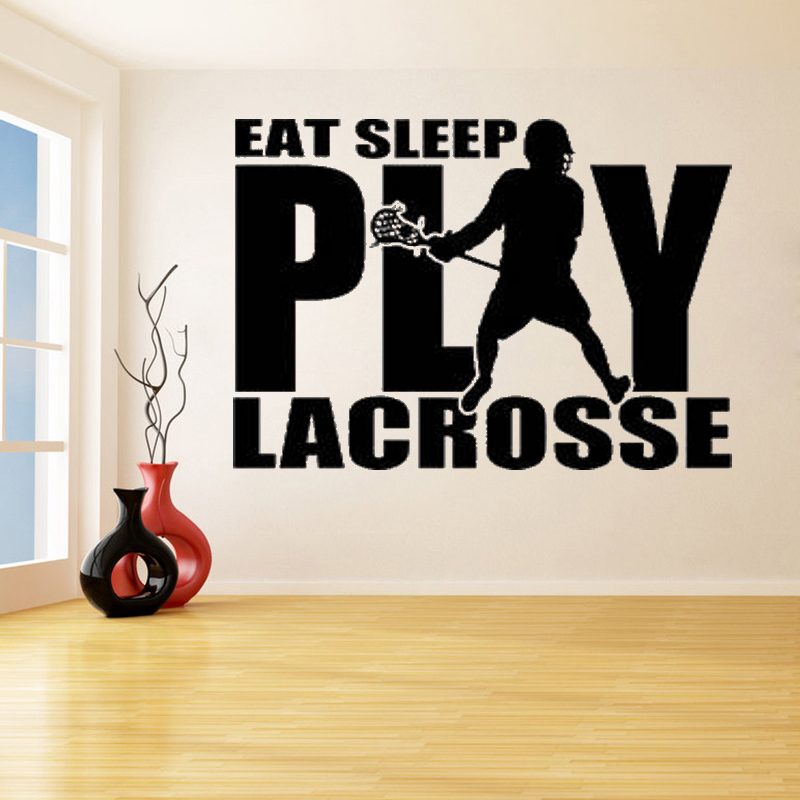 US $6.61 29% OFF Play Lacrosse With Player Removable Wall Stickers for Kids  Teen Bedroom Boys Home Decor Vinyl Decals Exercise Room K63-in Wall ...