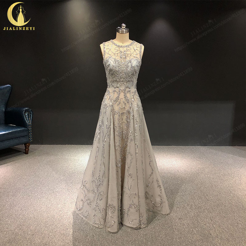 2019 Rhine 100% real Pictures Grey Full Hand beads Work Crystal Zuhair Murad Lusurious Formal dress prom dresses evening dresses