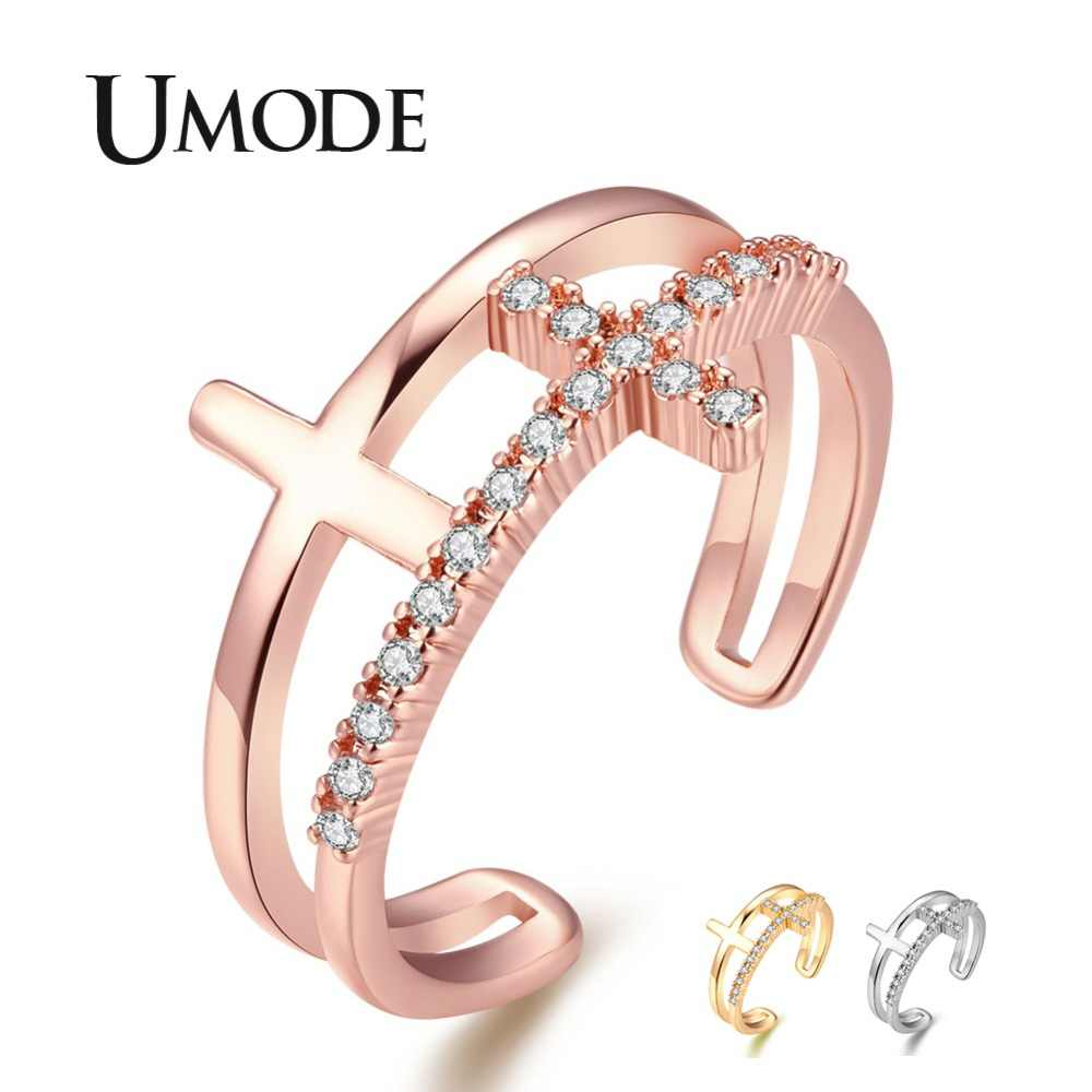 UMODE 2019 New Cross Adjustable Rings for Women CZ Crystal Rose&White Gold Open Cuff Ring Double Layers Zirconia Jewelry AUR0454