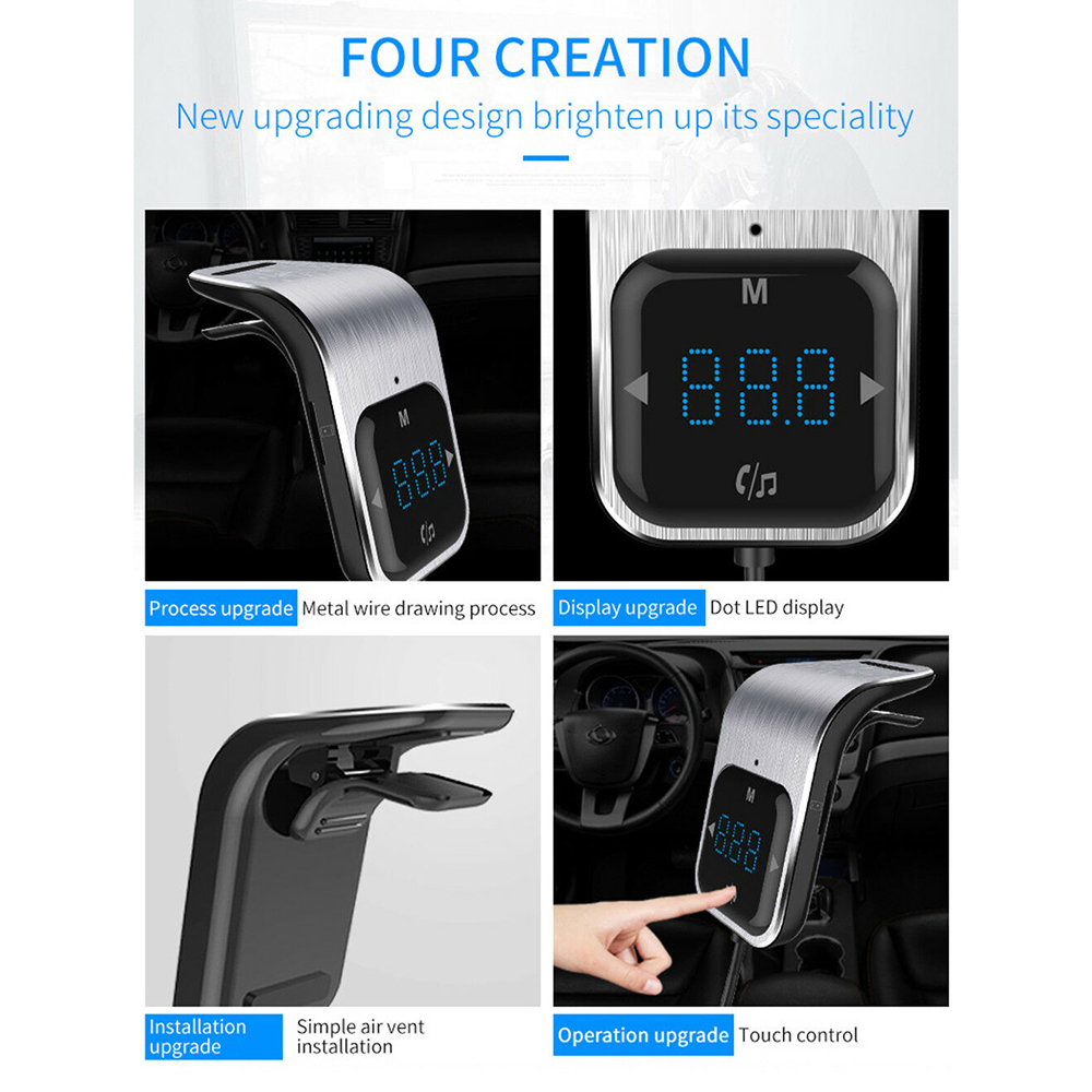 Image 5 - Car Small FM Transmitter Kit Bluetooth Car Kit  MP3 Radio Touch Button Bluetooth Adapter Dual USB Charger For Universal Car-in Bluetooth Car Kit from Automobiles & Motorcycles