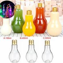 Innovative 100 ML Light Bulb Drink Juice Beverage Bottles Leakproof Plug Terrarium For Home Shop Tea With Milk Lamp Bottle