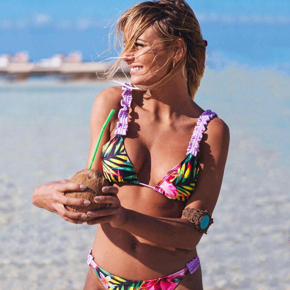 2019 Bikini Set Vrouwen Nieuwe Sexy Bloemen Badpak Push Up Ruche Badmode Bandeau Gedrukt Meisjes Braziliaanse Strand Badpakken
