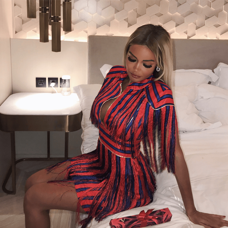 Detail Feedback Questions about 2018 New Fashion Sexy Women Bodycon Dress  Red Blue Striped Tassel Dress Short Vestido Mini Prom Cocktail Party Dress  With ... 1e6a2fb305fb