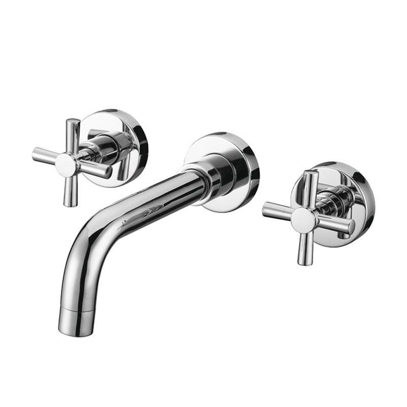 Wall Mounted Bathroom Soild Brass Dual Cross Handles Basin Sink Faucet Tap with Aerator12-060Wall Mounted Bathroom Soild Brass Dual Cross Handles Basin Sink Faucet Tap with Aerator12-060