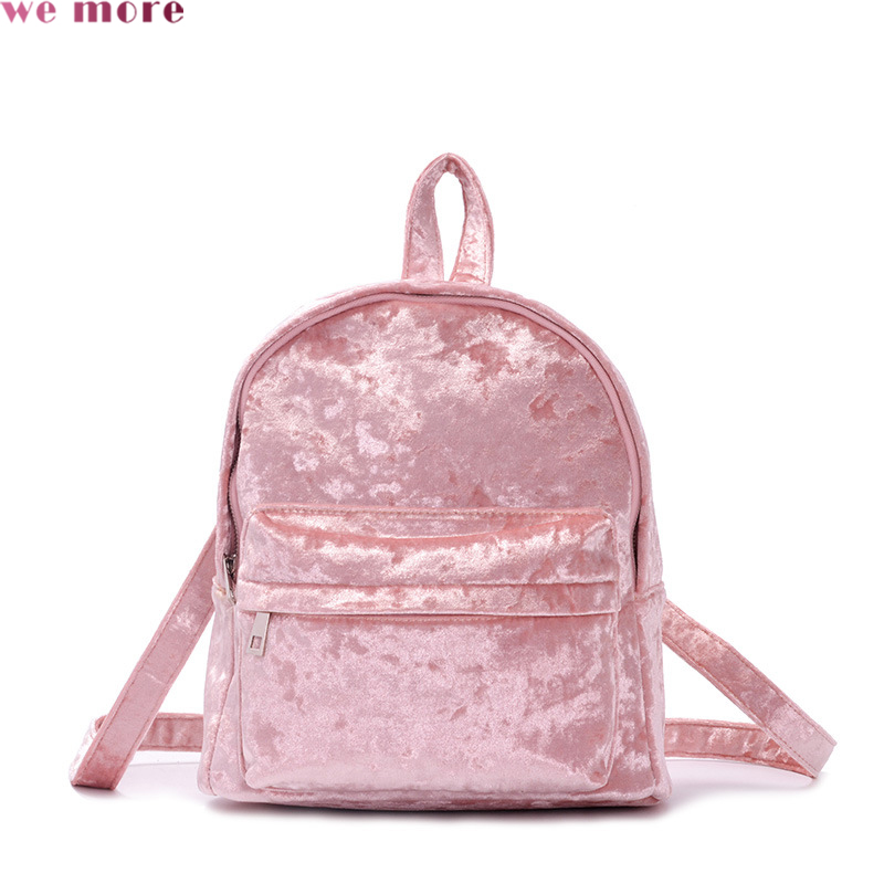We More Fashion Plush Backpack Women Backbag Ladies Travel Bag Medium Casual Backpack Soft European Style