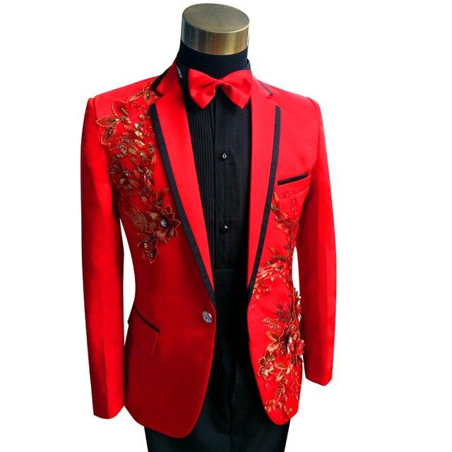 Red Black Tuxedo Jacket Pant Plus Size 3xl 4xl Men Sequin Blazer Suit