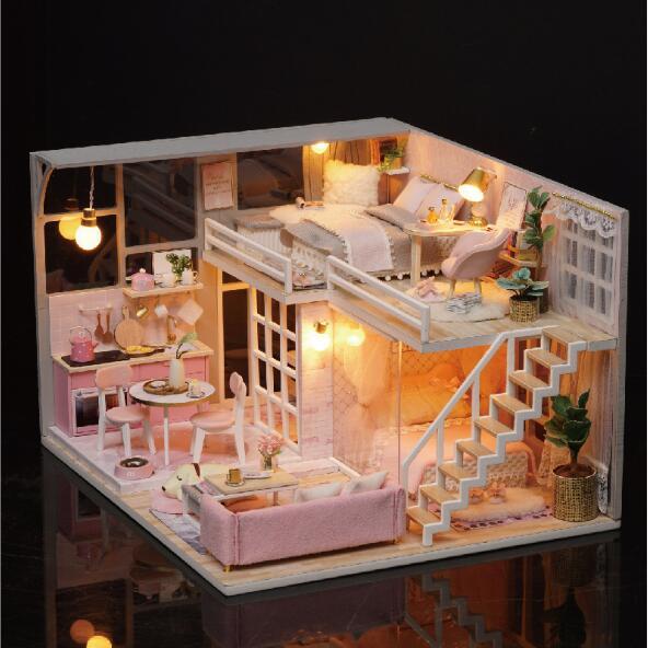 Maison de poupée avec meubles couverture de poussière en bois Miniatura maisons de poupée Miniature maison de poupée jouet avec couverture de poussière cadeau d'anniversaire