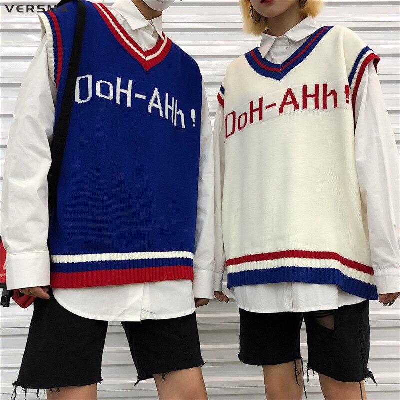 VERSMA 2018 Korean Harajuku Instagram BF Letter Mens Knitted Vests Sweater  V Neck Oversized Sleeveless Sweater Men Vest Pullover-in Vests from Men s  ... ae0fdaea6