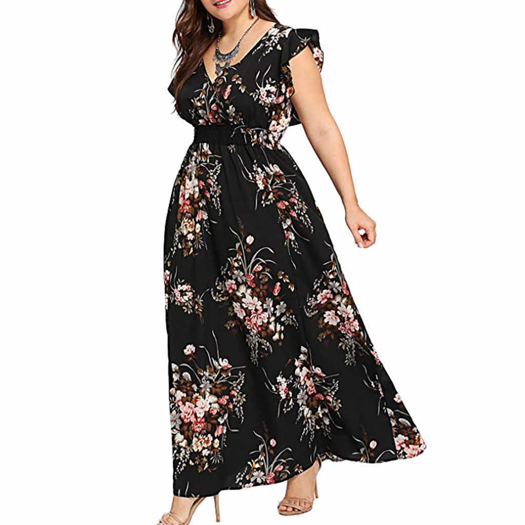 TELOTUNY Women Plus Size Casual Dress Summer V Neck Floral Print Sleeveless Party Maxi Dress Sleeveless L-5XL Women Summer Dress