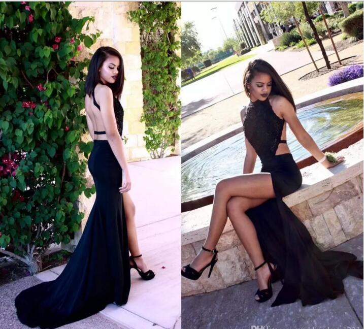 2017 New Elegant Black Long Mermaid Prom dresses With Lace Jewel Sleeveless Open Back Sequins Sweep Train Evening party gown