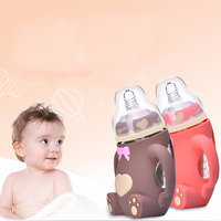 Baby Feeding Bottle 240ML Bear Design Arc Type Water Feeder with Silicone Nipple S7JN