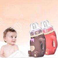 Baby Feeding Bottle 240ML Bear Design Arc Type Water Feeder with Silicone Nipple S7JN