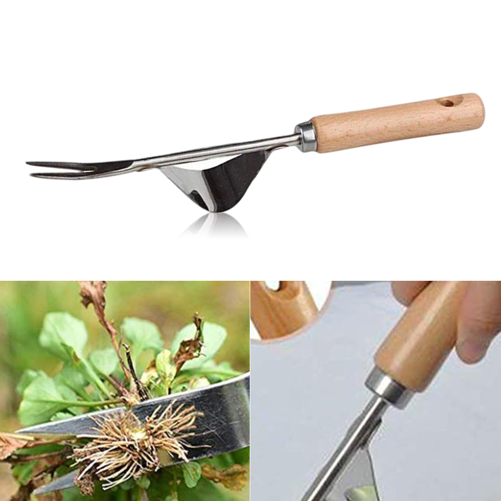 Wood Handle Stainless Steel Garden Weeder Hand Weeding Removal Cutter Dandelion Puller Tools Multifunction Weeder Transplant #5