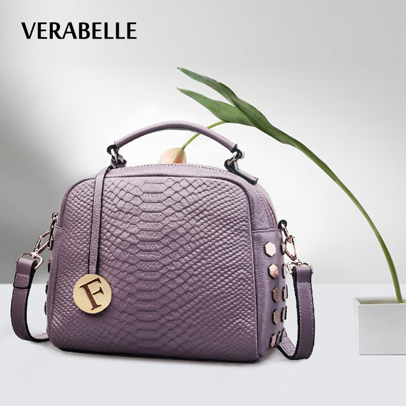 ФОТО VERABELLE 2017 Excellent Quality OL Lady Women Tote Bags Purple Alligator Rivet Cowhide Genuine Soft Leather Tassel Handbags