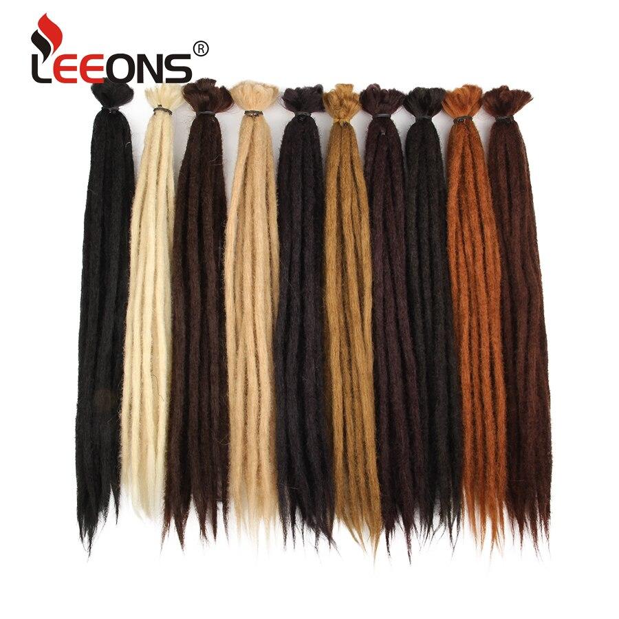Leeons Handmade Dreadlocks Hair Extensions Crochet Hair Black Brown Synthetic Hair 1 Strands Dreadlock For Women And Men 20 Inch
