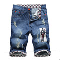 2016 calças de brim verão masculino moda calças de brim dos homens capris shorts jeans shorts jeans dos homens Preço de Fábrica Frete grátis