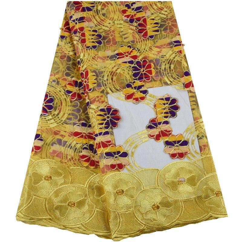 Telas de encaje nigeriano alta calidad 2019 cera Africana encaje bordado tela hermosas cuentas guipur encaje para vestido 1005-in encaje from Hogar y Mascotas    1