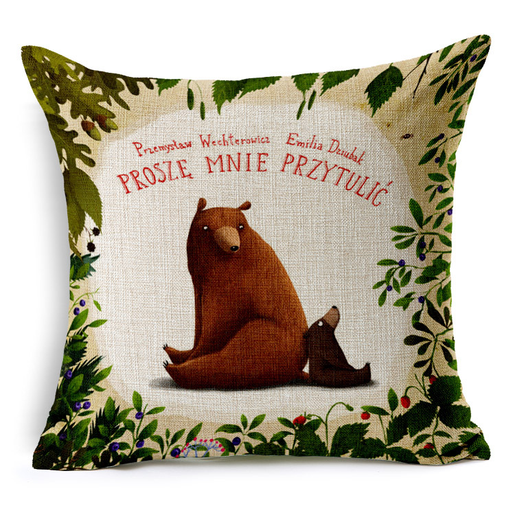 Bear Mother and Baby Printed Cushion Cover Europe Style Linen Decorative Pillow Covers Cojin Animal Capa Almofada BZT-73