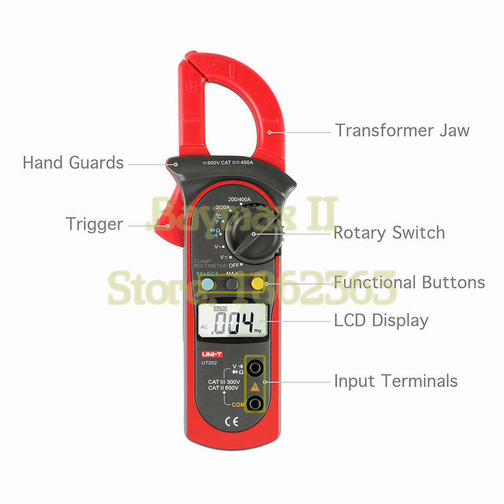 UNI T UT202 Auto Range Digital Clamp Multimeter Tester AC DC Voltage with Temperature Measurement in Multimeters from Tools