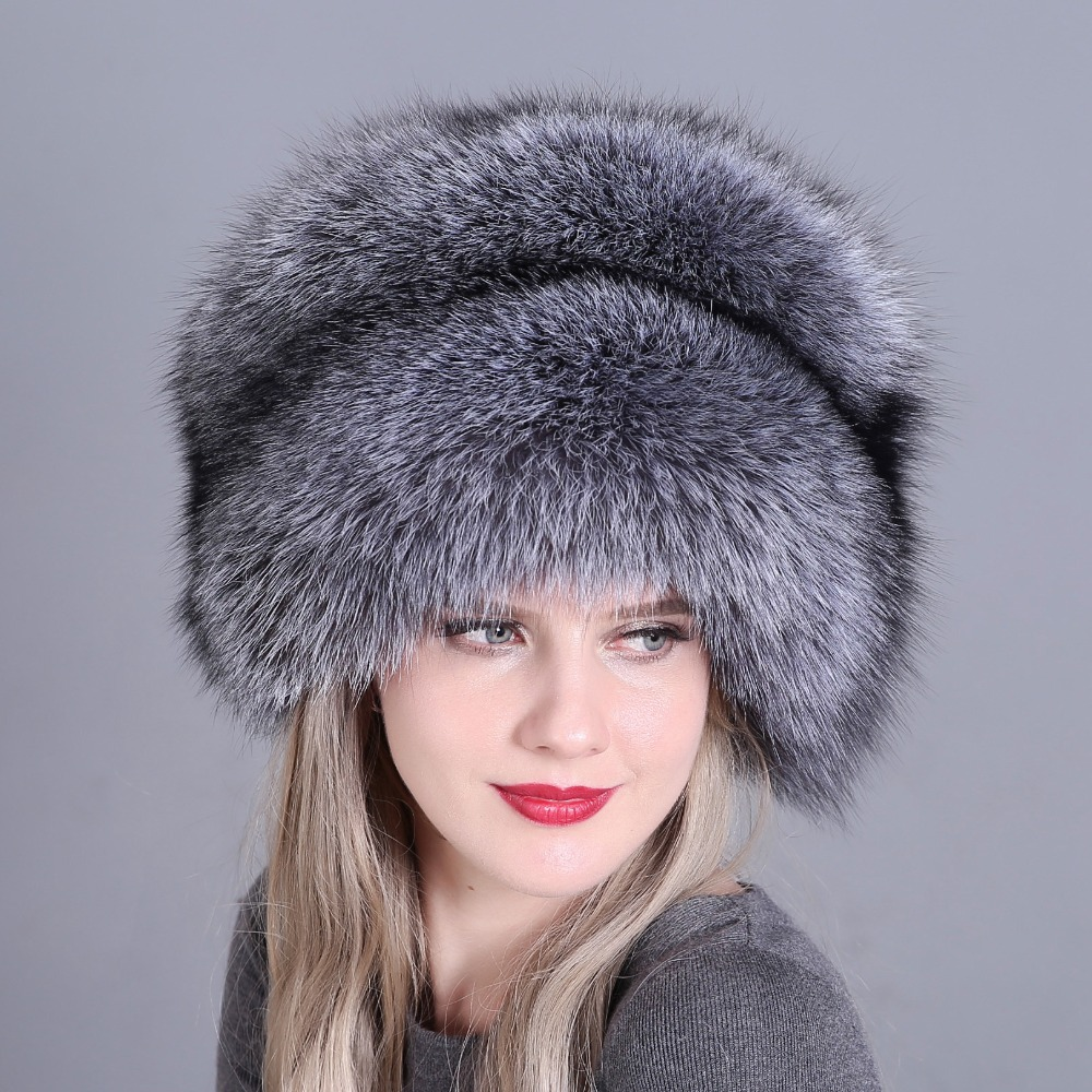 Image 2 - Hat Women's Winter Skullies Women Cap Warm Fur Pompom Thick Natural Fox Fur Cap Real Fur Hat Women Knitted Hat Female Cap-in Women's Skullies & Beanies from Apparel Accessories
