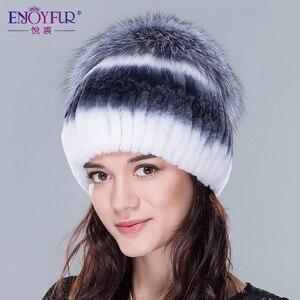 Image 5 - ENJOYFUR Mulheres chapéus de pele de inverno genuína pele de coelho rex gorro de pele de raposa de prata de alta qualidade de malha gorros de pele
