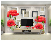 beibehang wallpaper for walls 3 d Fashion red flowers simple three-dimensional 3D TV wall mural wallpaper papel de parede beibehang papel de parede 3d gold foil wallpaper for walls 3d ktv restaurant classical chinese decoration wall paper papel mural