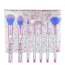 7pcs Diamond Makeup Brushes sets with Bag Crystal Brush kits Eyeshadow Contour Powder Quicksand Glitter
