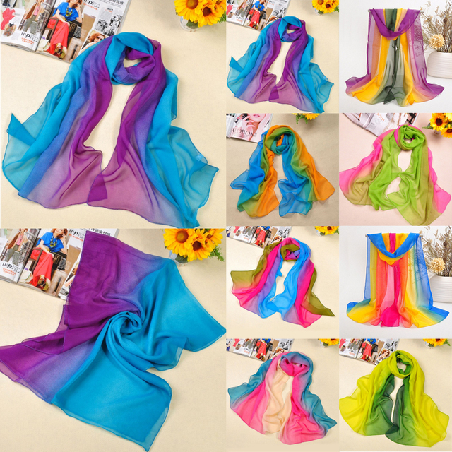 Rainbow Color Style Transparent Wild Scarf