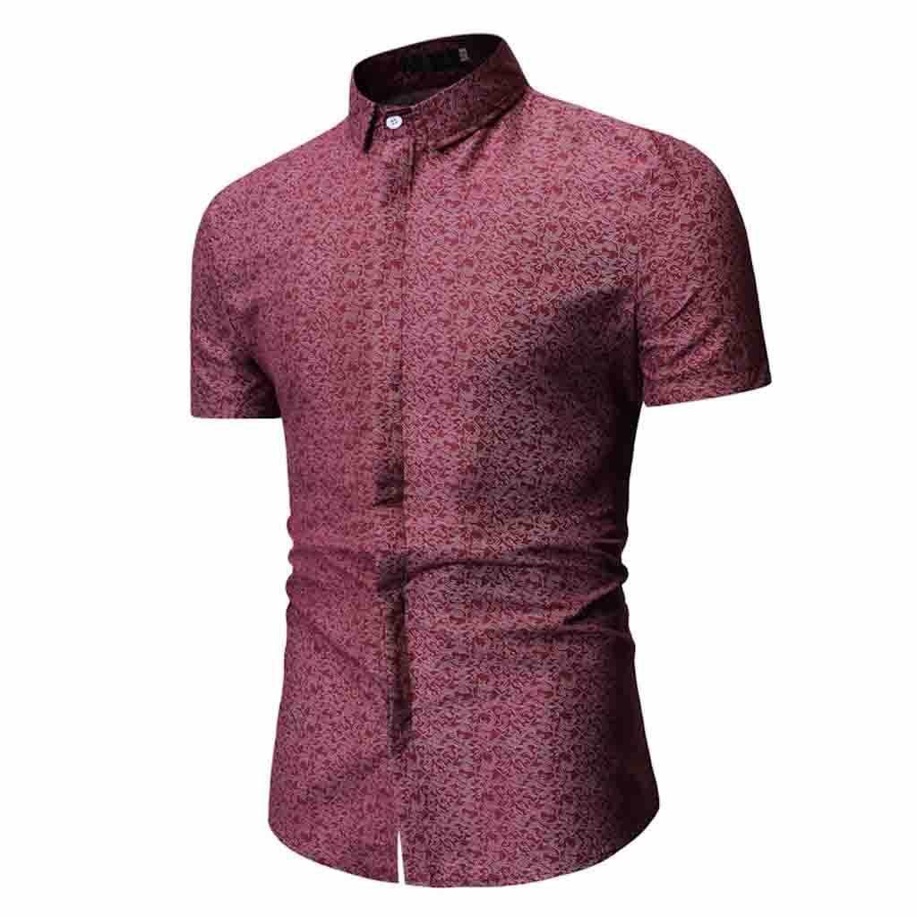 Мужская летняя рубашка с принтом и отложным воротником, приталенная рубашка с коротким рукавом, приталенная Мужская рубашка для работы в деловом стиле, Chemise Homme 3XL