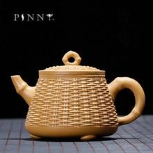PINNY 400ml YiXing Purple Clay Bamboo Raft Teapot Duan Mud Handmade Creative Kung Fu Tea Pot Sand Crafts Retro Drinkware