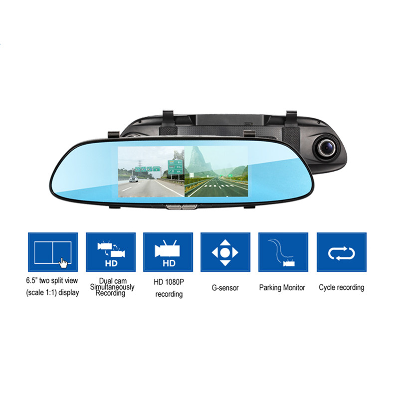 6.5 Car DVR Rearview Mirror Dash Cam FHD 720P Video Recorder Dual Lens Parking monitor auto dvrs Rearview Mirror 5V 1.5A