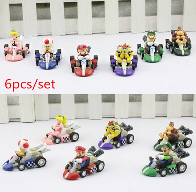 Super Mario Bros Kart PULL BACK Car Figures 6pcs/set Free shipping Kart PULL BACK Cars Figures super mario kart figure free shipping super big size 12 super mario with star action figure display collection model toy
