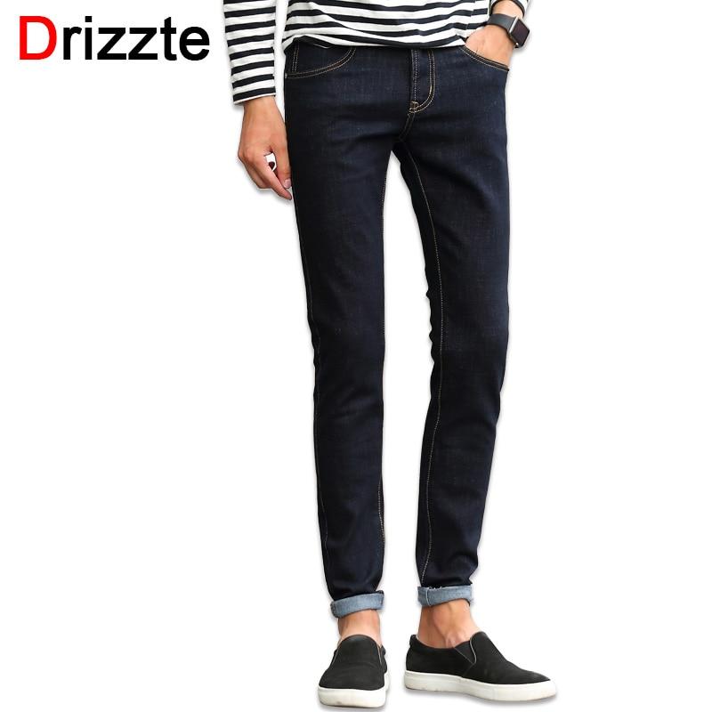 ФОТО Drizzte Mens Blackblue Stretch Denim Jeans for Men Slim Jeans Pants Trousers for Men 32 33 34 35 36 38