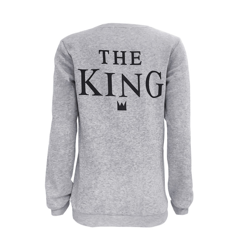 KLV King &Queen Couple Print Letter T-Shirt SportTops Blou Se For Couple Sweater Lovers Light Gray Pullover Drop Ship