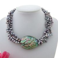 19 4 Strands Multi Shape Gray Pearl Abalone Shell Necklace