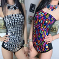 Strapless Sexy Women One Piece Monokinis Swimsuits Black Jumpsuits Stick Silver and Multicolor Diamond Jumpsuits for Ladies