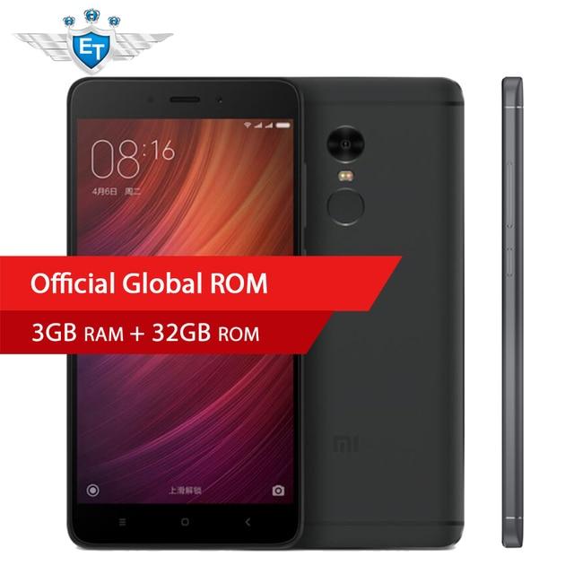 Оригинальный Xiaomi Redmi Note 4 3 ГБ 32 ГБ Глобальный Встроенная память смартфон 5.5 дюймов 1080 P MTK helio X20 дека core 13MP металла Для тела отпечатков пальцев