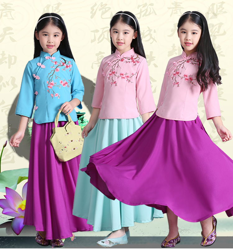 64a705215 New Children s Chinese Miss Girl Costume The Republic of China Princess  Dress Kids Ming Costume Chinese Ancient Hanfu Clothes-in Chinese Folk Dance  ...